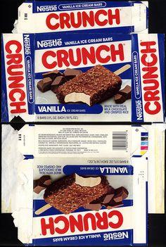 Nestle Crunch vanilla ice cream bars box - 1989