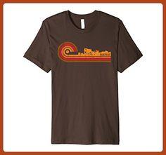 Mens Retro Style Bluefield West Virginia Skyline T-Shirt Small Brown - Retro shirts (*Partner-Link)