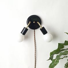 Gloss Black Metal Brass Double Arm Wall Sconce