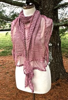 SCARF SHAWL WRAP mauve pink lace embroidered ruffled mesh xtra long 76x13 NEW  #IMPORT #Scarf