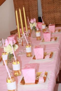 pink and gold decorations   Pink and Gold Princess Party So Many Really Cute Ideas via Kara's ...
