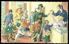 ANTHROPOMORPHIC CAT Holiday Hotel Mainzer Artist Postcard EUGEN HARTUNG | eBay