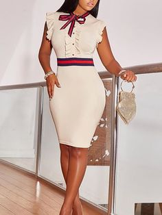 Frilled Striped Patchwork Tie Neck Sheath Dress - Fashion Able Trend Fashion, Look Fashion, Womens Fashion, Ladies Fashion, High Fashion, Cute Dresses, Cute Outfits, Dresses With Sleeves, Short Sleeves