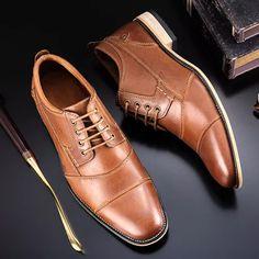 Men's Leather Shoes Top Quality Wood Heel Oxfords Trendy Mens Shoes, Formal Shoes For Men, Mens Fashion Shoes, Shoes Men, Toe Shoes, Casual Leather Shoes, Suede Leather Shoes, Leather Men, Mens Business Shoes