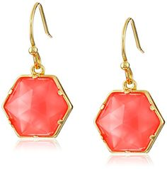 "Trina Turk ""The Explorer"" Gold Plated Coral Hexagon Stone Drop Earrings"