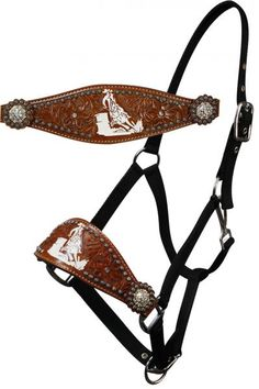Barrel Racer Bronc Horse Halter $28.99 Showman ® adjustable nose nylon bronc halter with nickle plated hardware and eyelets. Halter features floral tooling and barrel racer logo accented with small studs and crystal rhinestone conchos on both sides of noseband.Made by  Showman ® products.   Horse size.