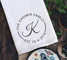 Personalized Flour Sack Towels Custom Monogram Tea Towel