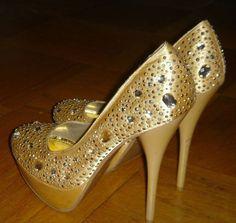 ALBA Gold Bling Sparkled Bedazzled Jewled Shoes 5 Inch Heel Platform Size 7 1/2 #Alba #PlatformsWedges #SpecialOccasion