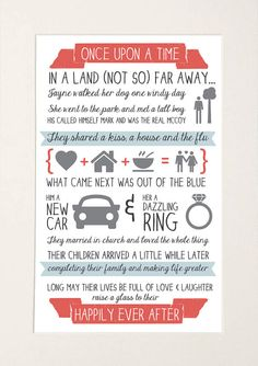 Personalised Couple 'Love Story' Paper Anniversary / First Wedding Anniversary / Valentine