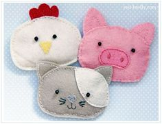 8 Hand Sewing Projects to Start Today - My Sewing Box hand hotties made from felt in pig, chicken and cat design