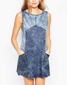 Bellfield | Bellfield Colourblock Sleeveless Denim Shift Dress at ASOS
