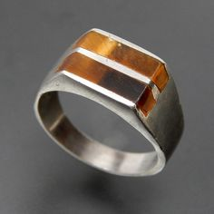 TIGER'S EYE INLAY STERLING SILVER SIGNET MEN'S RING - SIZE 11 – Gold Stream Boutique