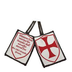 Templar Scapular, Knights for ChristProtecting and Defending the faith. The white represents the holiness of the martyrs, and red is the color of the blood that was shed. Let this scapular protect your soul and be a reminder to protect and defend your faith. Scapular pieces:Red Templar cross within a shield shapeWhosoever dies wearing this scapular shall not suffer eternal fire.Comes with informational cardAdd to cart or wish list above.