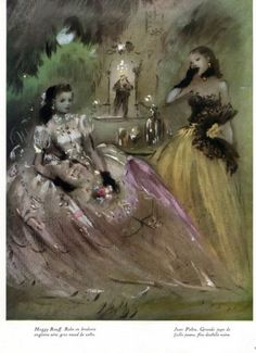 Lila de Nobili 1947 Evening Gown Fashion Illustration