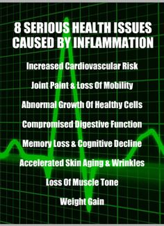 8 SERIOUS HEALTH ISSUES CAUSED BY INFLAMMATION. Increased cardiovascular risk, joint paint & loss of mobility, abnormal growth of healthy cells, compromised digestive function, memory loss & cognitive decline, accelerated skin aging & wrinkles, loss of muscle tone, weight gain. Learn about the anti-inflammatory qualities of alkaline rich Kangen Water; it's hydrogen rich, antioxidant loaded, ionized water that neutralizes free radicals that cause oxidative stress which can lead to…