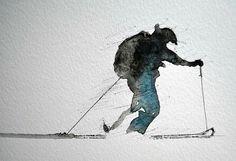 G Watercolor Sketch, Watercolor Landscape, Ski Chalet Decor, Snow Art, Mountain Paintings, Sports Art, Photo Art, Planking, Watercolor Paintings