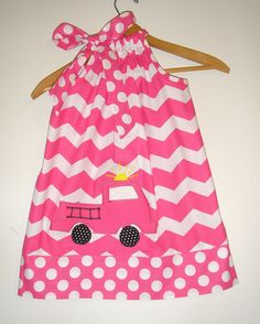 Firefighter Pink Chevron appliqued pillowcase by ladyoutofcarolina, $20.00