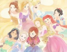 disney princesses in anime Disney Animation, Disney Pixar, Walt Disney, Disney Fan Art, Disney And Dreamworks, Disney Characters, Aurora Disney, Disney Jasmine, Mermaid Disney