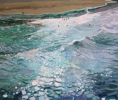 Summer Surf - Ruth Stage British, , Oil on canvas Water Reflections, Light Reflection, Art Cube, Summer Surf, Van Gogh Art, Water Art, Coastal Art, Ocean Art, Artist Painting