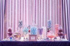 Purple & Blue Sweet Wedding Candy Bar Table