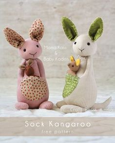 Sock Kangaroo Plushie - Free Sewing Pattern & Tutorial Sew sock kangaroo with baby kangaroo in the pouch, Mama Kass & Baby Kaden. Perfect to sew as gift and toys for kids especially Mother's Day and Baby Shower Sewing Toys, Baby Sewing, Sewing Crafts, Sewing Stuffed Animals, Stuffed Animal Patterns, Sewing Patterns Free, Free Sewing, Free Pattern, Pattern Sewing