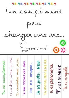 Pour inspiration, à transformer en compliments. ♥ citations un compliments. Teaching French, Core French, French Expressions, French Classroom, Quote Citation, French Quotes, French Lessons, Messages, Sayings