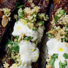 Chermoula Aubergine with Bulgar and Yoghurt - The Happy Foodie