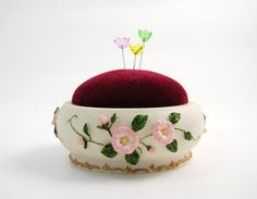 Pincushion 'Sing A Song' Flower ornated on Etsy, $12.50