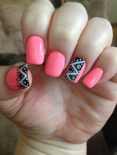 Mint Pink Yellow Red Black White Nail Art Design Aztec Nails By