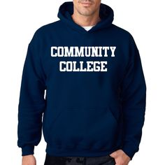 Crazy Dog T-shirts Community College Sweatshirt Funny Ironic Plain Text Parody Hoodie, Men's
