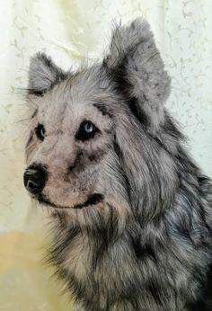 GREY WOLF OOAK HAND MADE ART TOY by FairytaleWORLDofART on Etsy Felt Dogs, Art World, Needle Felting, Fairytale, Wolf, Fantasy, Grey, Animals, Fairy Tail