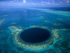 Blue Hole, Belize.  Enormous cave system for diving.
