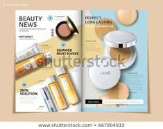 bi fold brochure featuring cosmetic and sun proof products, can be used on magazine or catalogs, illustration Bi Fold Brochure, Brochure Layout, Product Brochure, Brochure Template, Instagram Display, Catalogue Layout, Magazine Layout Design, Cosmetic Design, Creative Brochure