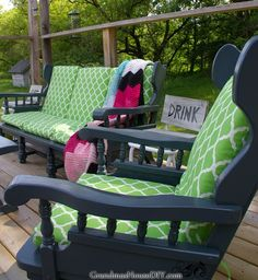 Convert a wooden sofa and rocking chair from indoor furniture to outdoor furniture for your deck with several coats of primer, outdoor paint and sealant. Painting Patio Furniture, Painted Outdoor Furniture, Outdoor Paint, Garden Furniture, Diy Furniture, Outdoor Decor, Furniture Logo, Rustic Furniture, Outdoor Ideas