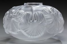 Art Glass:Lalique, A Lalique Clear and Frosted Glass Nympheas Low Vase…
