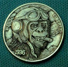 "Hobo Nickel ""Monkey Business""  Chimpanzee coin by Howard Thomas"