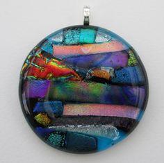 Multi-coloured large handmade fused glass pendant by BlueBoxStudio