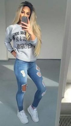 shoes white shirt jeans ripped jeans white shoes sweater cute gorgeous viral graphic sweater cool girly girl outfit outfit idea tumblr tumblr outfit grey grey sweater