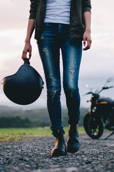 Ripped jeans   Anchor & Bolts #motorcycle #motorbike #helmet #girl #style