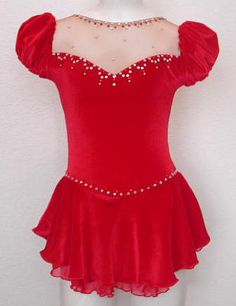 red sweet and innocent style skating dress