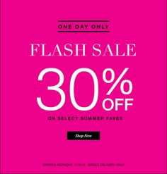 Avon's One day #FlashSale. Earn 30% off select Summer faves. Sale ends midnight 7/10. Direct Delivery Only!! Click here: maromire.avonrepresentative.com.