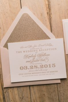 GABRIELLE Suite Glitter Package, elegant glam wedding invitations, blush and gold, glitter wedding invitations