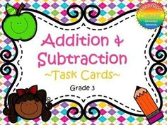 Addition and Subtraction Task Cards Grade 3 Math Resources, Math Activities, Math Made Easy, Ontario Curriculum, Math Groups, Math Intervention, Adding And Subtracting, Teaching Math, Teaching Ideas