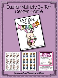 Quick and Easy to Make Multiplication Center Game Multiply By Ten Concept for Easter #TPT $Paid