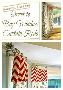Super CHEAP Secret to DIY Bay Window Curtain Rods from 3 Little Greenwoods Need inexpensive window treatments? Make DIY Bay Window Curtain Rods! Simple curtain rods made with easy to find hardware store supplies. Homemade Curtain Rods, Homemade Curtains, Window Curtain Rods, Cheap Curtain Rods, Bay Window Treatments, Window Coverings, Diy Bay Window Curtains, Burlap Curtains, Ikea Curtains