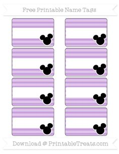 Free Wisteria Horizontal Striped  Mickey Mouse Name Tags
