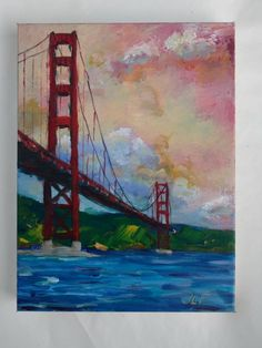 """This is """"Pink Skys Behind Golden Gate Bridge"""" an original acrylic painting on canvas by JLF. Diy Canvas Art, Acrylic Painting Canvas, Diy Painting, Knife Painting, Watercolor Landscape, Landscape Paintings, Landscapes, Golden Gate Bridge Painting, Bridge Drawing"""