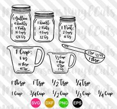 Kitchen Conversion Chart SVG | Measurement Chart SVG | Measuring Cups Svg Eps Png Dxf | Digital Download | Personal & Commercial Use by MissSeasonsVinylCuts on Etsy