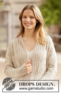 Knitted long jacket with shawl collar in DROPS Bomull-Lin or DROPS Paris. Piece is knitted with lace pattern. Lace Knitting Patterns, Lace Patterns, Knitting Designs, Free Knitting, Drops Design, Drops Paris, Magazine Drops, Pin On, Crochet Diagram