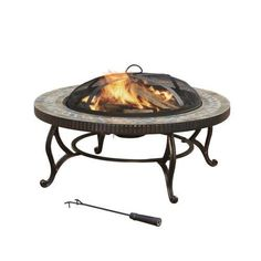 Pleasant Hearth Elizabeth Natural Slate Top 34-Inch Fire Pit with Copper Accents